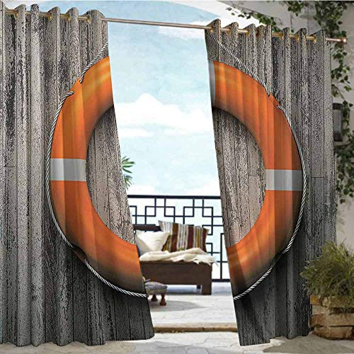 Outdoor Privacy Curtain for Pergola Buoy Decor,Lifebuoy Attached to A Wooden Wall Hardwood Grunge Rustic Aged Look,W96 xL84 Outdoor Curtain for Patio,Outdoor Patio Curtains