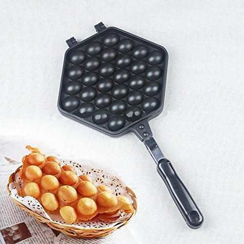 niceeshop(TM) Egg Waffle Pan,Non-Stick Grill Egg Cake Pan Egg Puff Waffle Maker Double Sided Iron Pressure Pan,Black