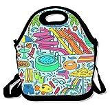 Xyou Neoprene Lunch ToteAdjustable Shoulder Strap Aquapark Colorful Doodle Set Carrying Gourmet Lunchbox