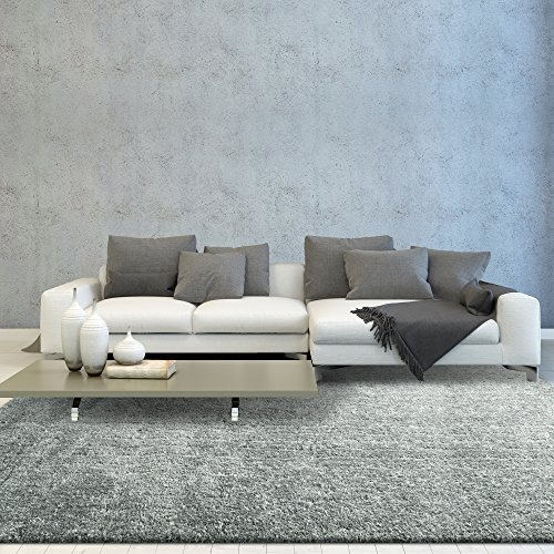 iCustomRug Smoky Shag Modern Thick And Soft 8ft0in x 10ft0in (8' x 10') Interior Shag Area Rug In Grey & White
