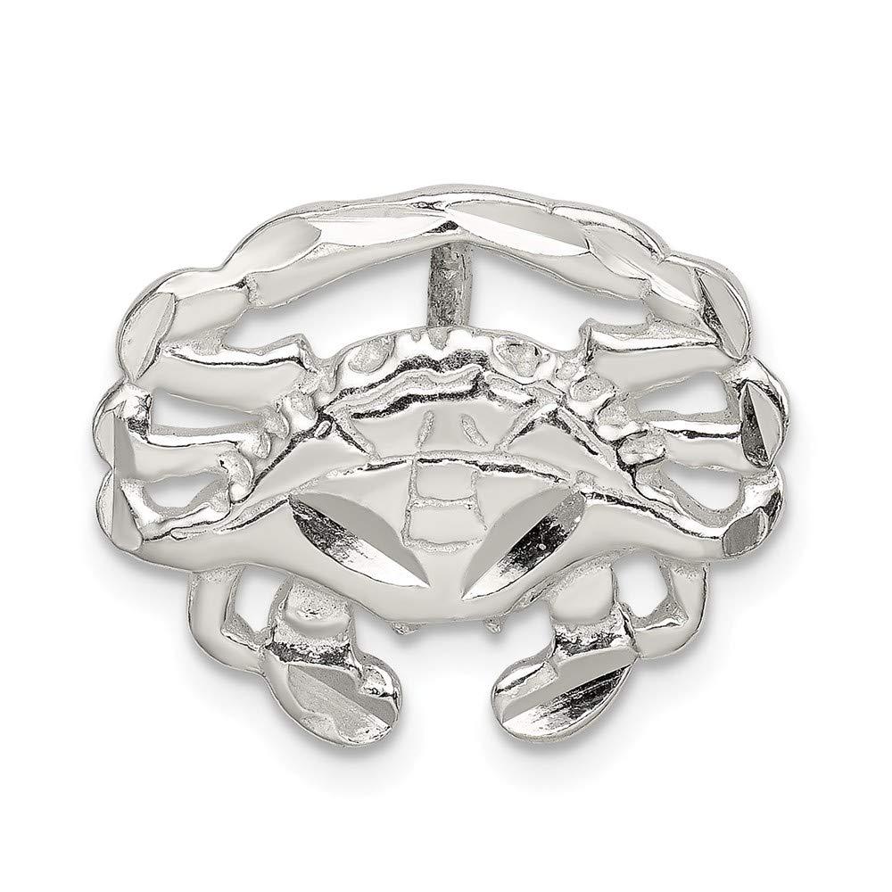 21mm x 17mm Jewel Tie 925 Sterling Silver Crab Slide Pendant Charm