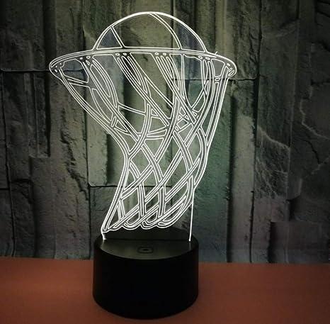 Ilusión 3D luz nocturna decorativa, canasta de baloncesto luces 3D ...