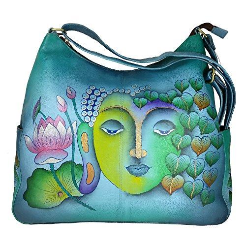 Charmeine Women's Leather Shoulder Bag Painted 38 cm x 33 cm x 12 cm Multi Color by Charmeine