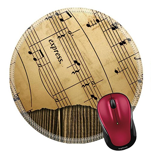 Liili Round Mouse Pad Natural Rubber Mousepad music notes Photo ()