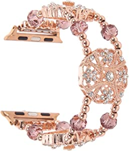 Apple Watch Band, Handmade Beaded Elastic Iwatch Band with Metal Chain, Crystal Pearl Bracelet, Compatible with Apple Watch 38mm /40mm Series (42/44mm Series) for Women Girl (Rose Gold, 42mm/44mm)