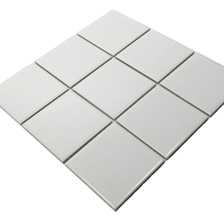 Vogue Tiles Porcelain 3-3/4 in. x 3-3/4 in. Matte Mesh-Mounted Mosaic for Backsplah, Bathroom Floor & Wall Tiles (11 pcs/case) (White)