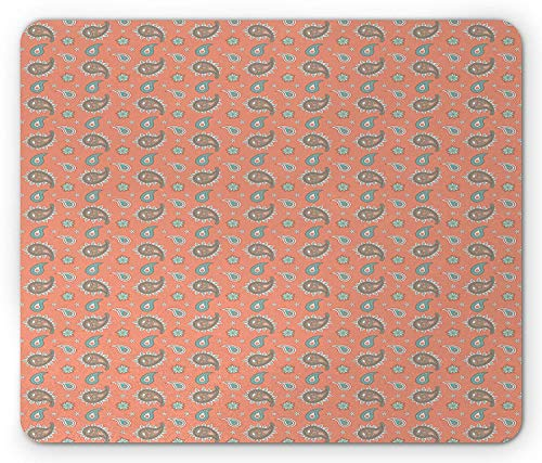 Paisley Mouse Pad, Ancient Persian Ornament Motifs with Flowers in Vivid Colors Ethnic Asian, Standard Size Rectangle Non-Slip Rubber Mousepad, Tan Aqua Mint Green,8.66 x 7.08 x 0.118 Inches ()