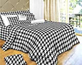 Houndstooth Check Print - 4 Pc. Extra Long Twin Size Duvet Cover Bedding Set (1 Duvet Cover, 1 Fitted Sheet, 1 Sham, 1 Pillow Case) - SAVE BIG ON BUNDLING!
