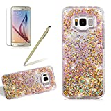 Liquid Case Cover For Samsung Galaxy S8, Girlyard Slim Fit Bling Quicksand Hard Case Cover Glitter Sparkle Stars Flowing Liquid Hard Case Cover Leaves Moving Floating Ultra Clear Protection Back Case Cover, Gold