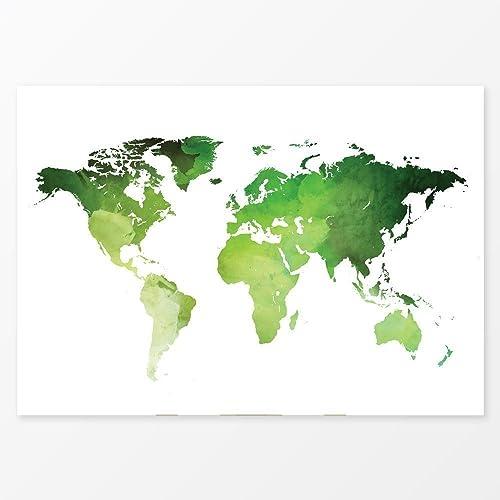 Amazon.com: Watercolor World Map Wall Art, Size 5x7, 8x10, 11x14