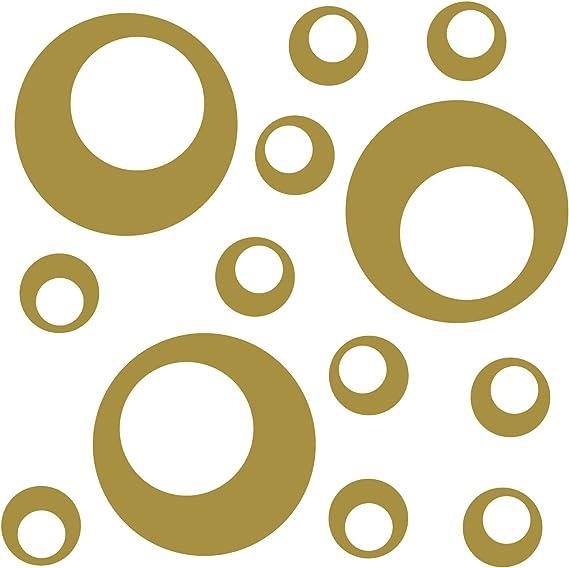 Kleb Drauf 13 Retro Punkte Gold Matt Autoaufkleber Autosticker Decal Aufkleber Sticker Auto Car Motorrad Fahrrad Roller Bike Deko Tuning Stickerbomb Styling Wrapping Auto