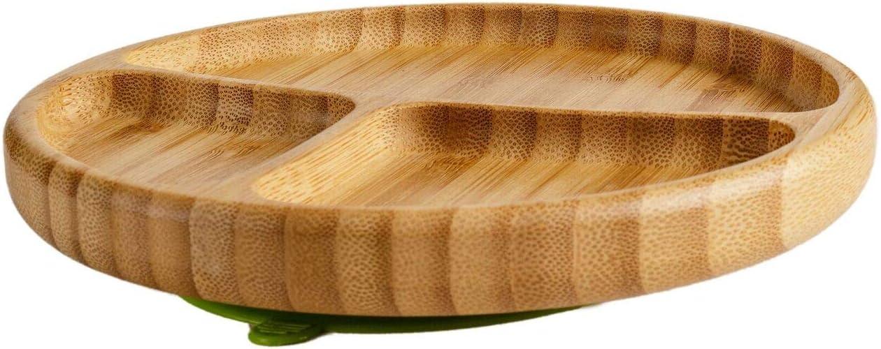 bambou naturel plaque dalimentation id/éale pour b/éb/é LED WEANING Assiette plate pour b/éb/é avec assortiment de cuill/ères