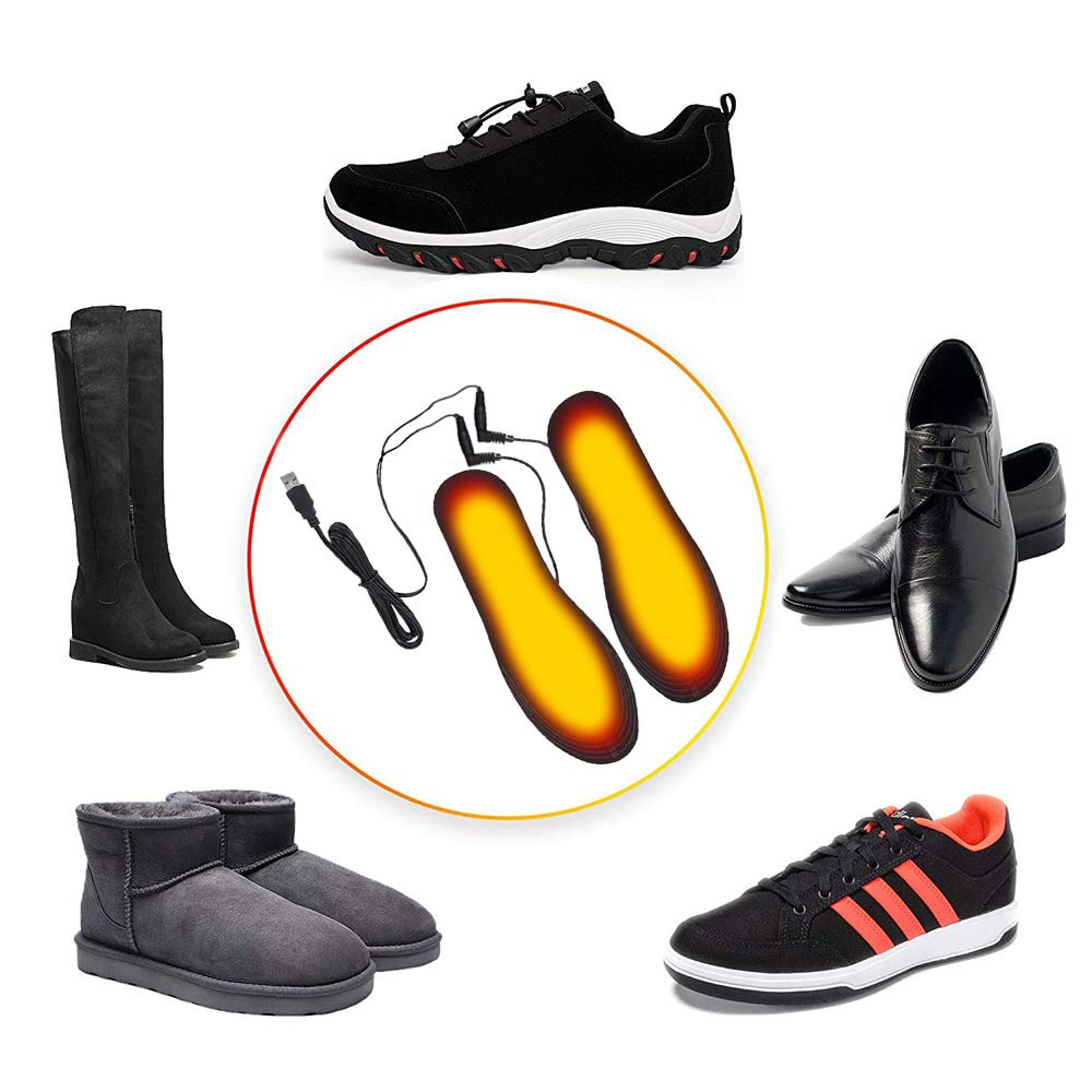 Imaxcite Electric Heated Insoles Rechargeable Heating Foot Warmers Cuttable Warm Insole