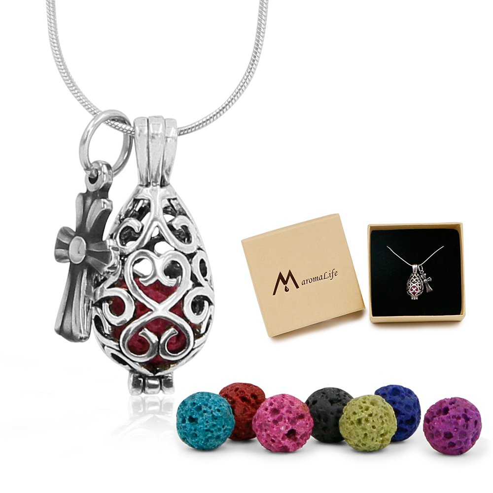 Maromalife Premium Teardrop Lava Stone Aromatherapy Essential Oil Diffuser Necklace Locket Pendant Gift Set with 24 Chain and Multi-Colored Beads …