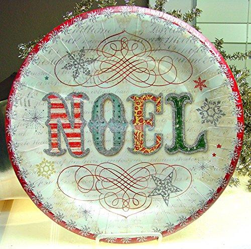 16 Ct Punch Studio 95804 Noel Vintage Script Christmas Holiday Paper Dinner Plates, 10.5