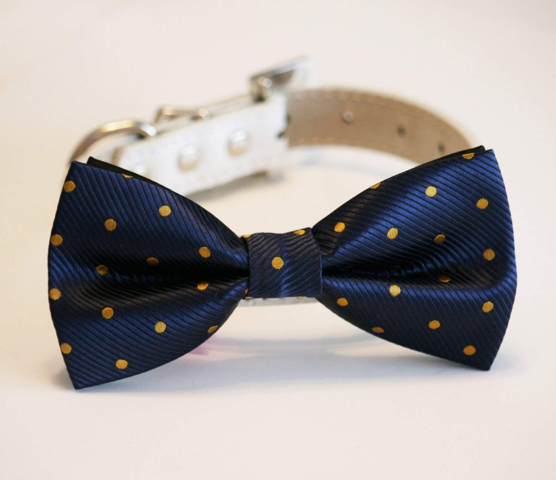 Polka dots birthday gift Pet accessory Handmade wedding Navy and Gold Dog Bow Tie