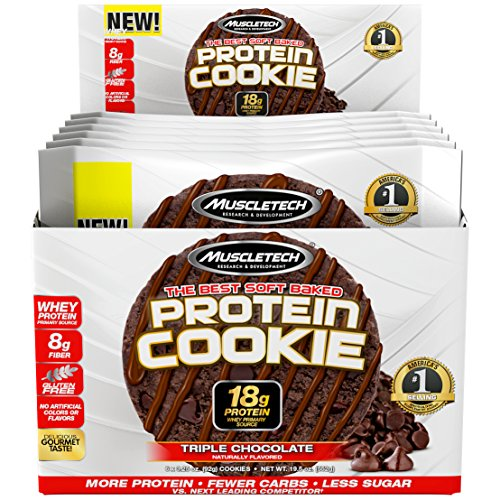 MuscleTech Soft Baked Whey Protein Cookie, Triple Chocolate, Gluten-Free, 3.25-ounce (Pack of 6 – 92g)