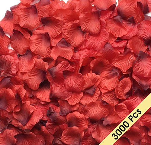 NewCool 3000 Pcs Dark Red Silk Rose Petals Artificial Flowers Decorations, Wedding Party Vase Home Decor Bridal Petals Rose Flower Favors Decoration