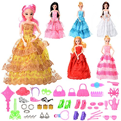 Total 46PCS - 6Pcs Barbie Dresses and 40Pcs Barbie Dolls Accessories, Quality Fashion Wedding Party Gown Accessories Pack for Girls  Birthday XMAS-Gifts by Sakiyr (Barbie Doll Not Included) - Bag Fashion Accessories