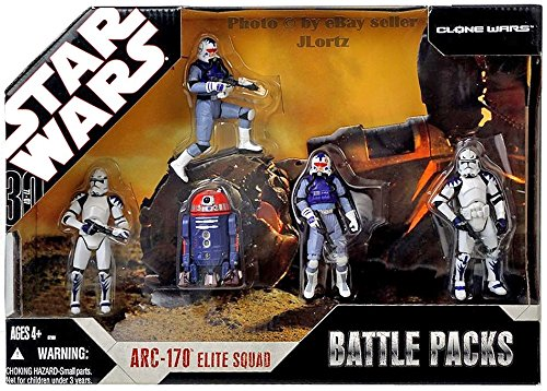 Star Wars 30th Anniversary Battle Pack ARC 170 ELITE SQUAD with 5 Action Figures Exclusive Purple R2 Astromech Droid R4-C7 - Star Wars Arc 170 Clone
