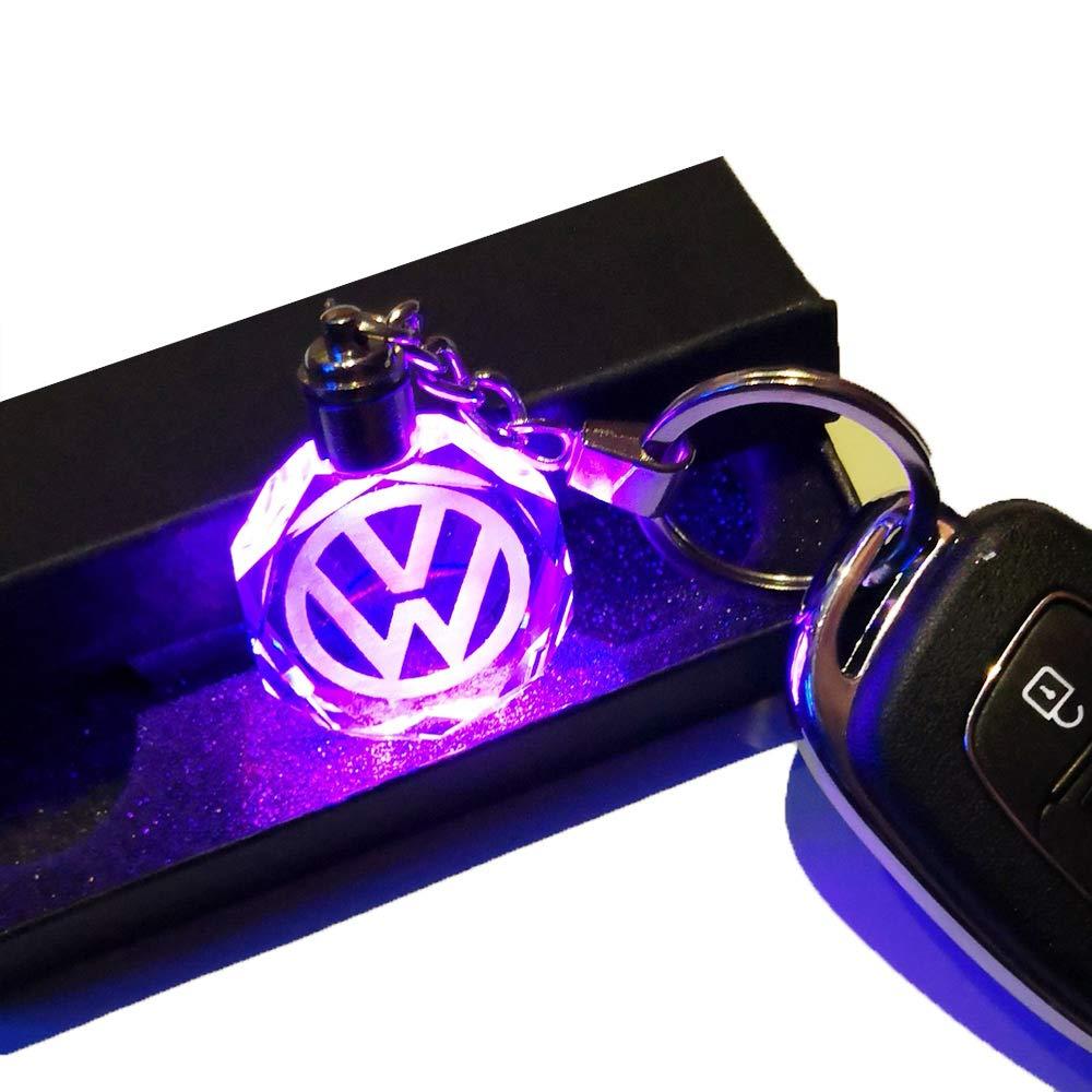 VILLSION 7 Couleurs Changeantes Voiture Audi Porte-clés avec Logo LED Lumière Porte-clés Accessoires