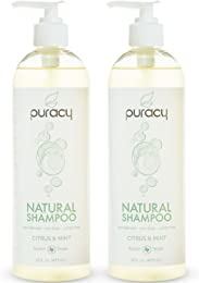 Puracy Natural Daily Shampoo [2-Pack], Sulfate-Free, Non-Toxic, Citrus & Mint, 16 Ounce Pump Bottle [Set of 2]