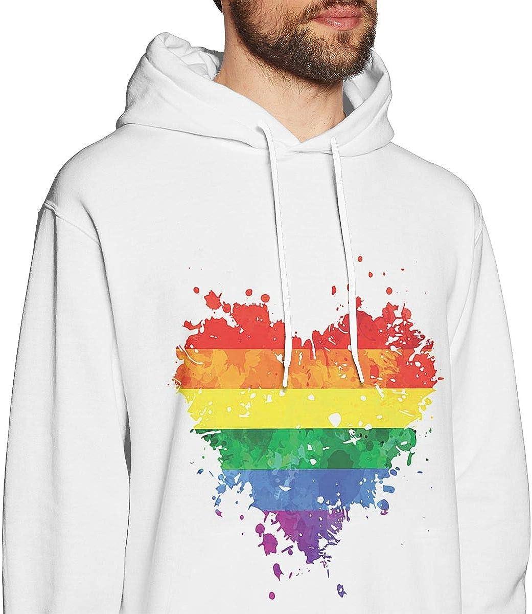 FTHX Mens Hoodies Painting Heart LGBT Fashion Pullover Hooded Print Sweatshirt Jackets