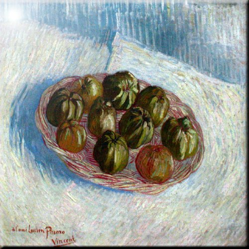 Rikki Knight Van Gogh Art Basket of Apples Design Ceramic Art Tile 12 x 12