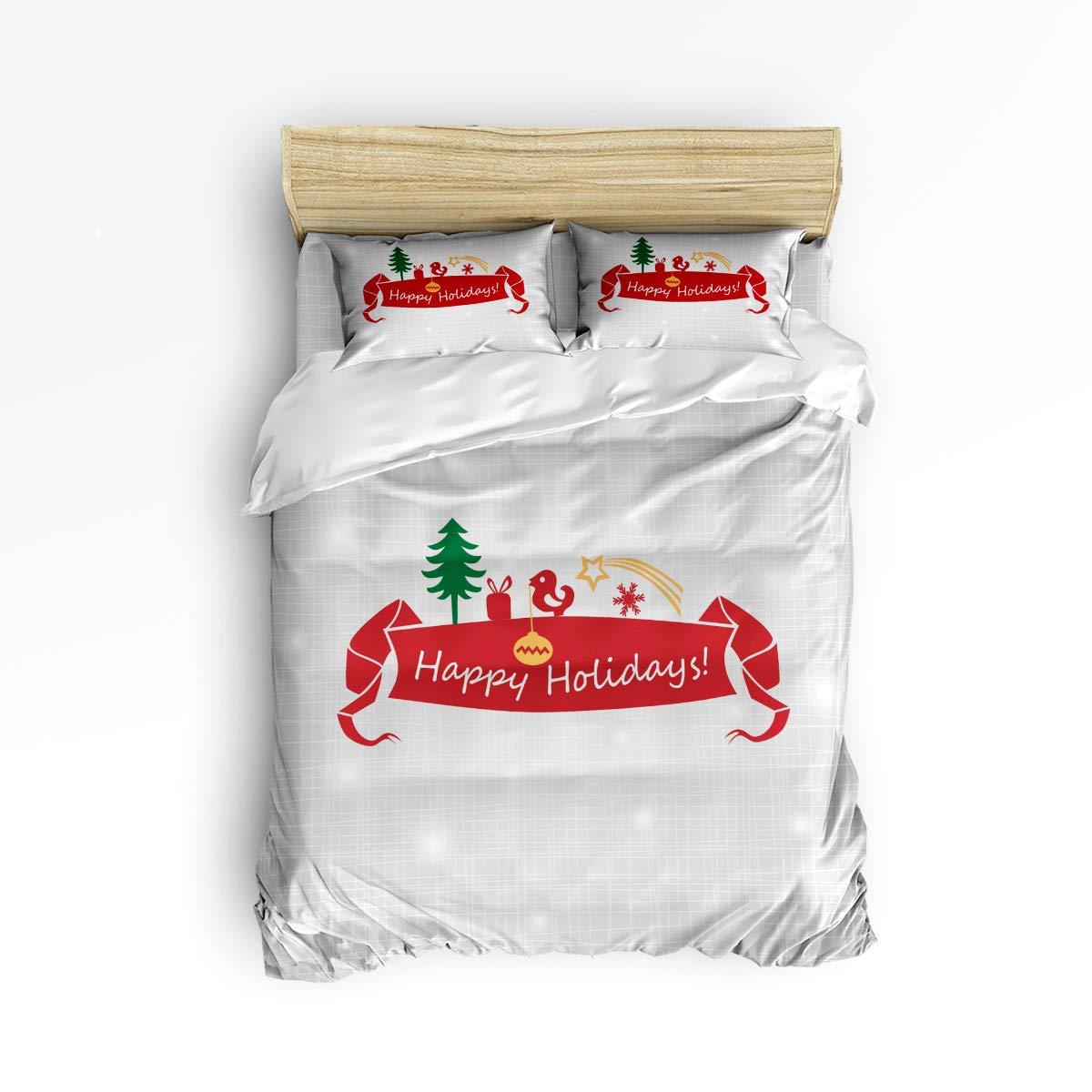 Anzona 4ピース寝具セット Happy Holidays グレーの不規則な格子柄のガーランドのプリント 4ピース羽毛布団カバーセット ベッドスプレッド 子供/子供/ティーン/大人用 フルサイズ 181031SJTzlyANZONA-SLSZ00003SJTBAZN B07K47ZN97 Merry Christmas3azn4982 フルサイズ