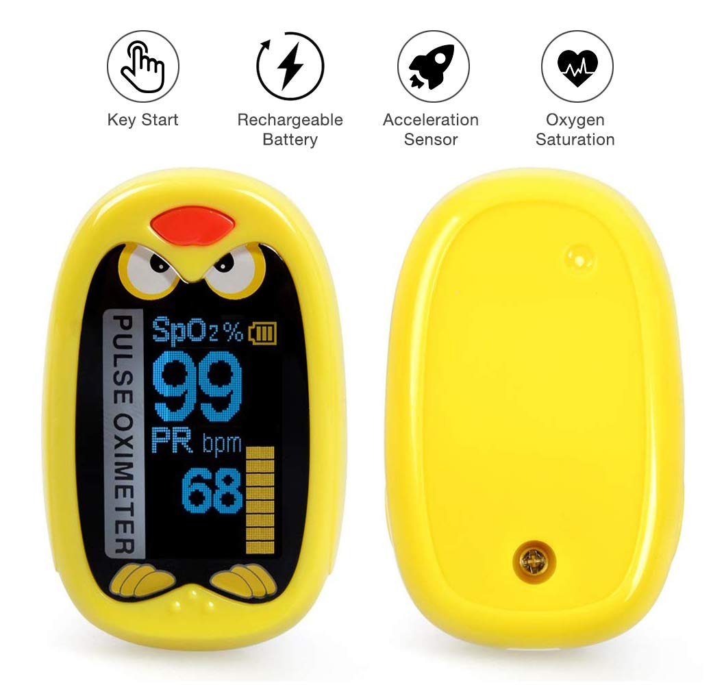 GadgetMarket Children Fingertip Pulse Oximeter, Blood Oxygen Monitor   for 1-12 Years Old Children   Digital Auto Rotating OLED Screen with Rechargeable Battery by GadgetMarket