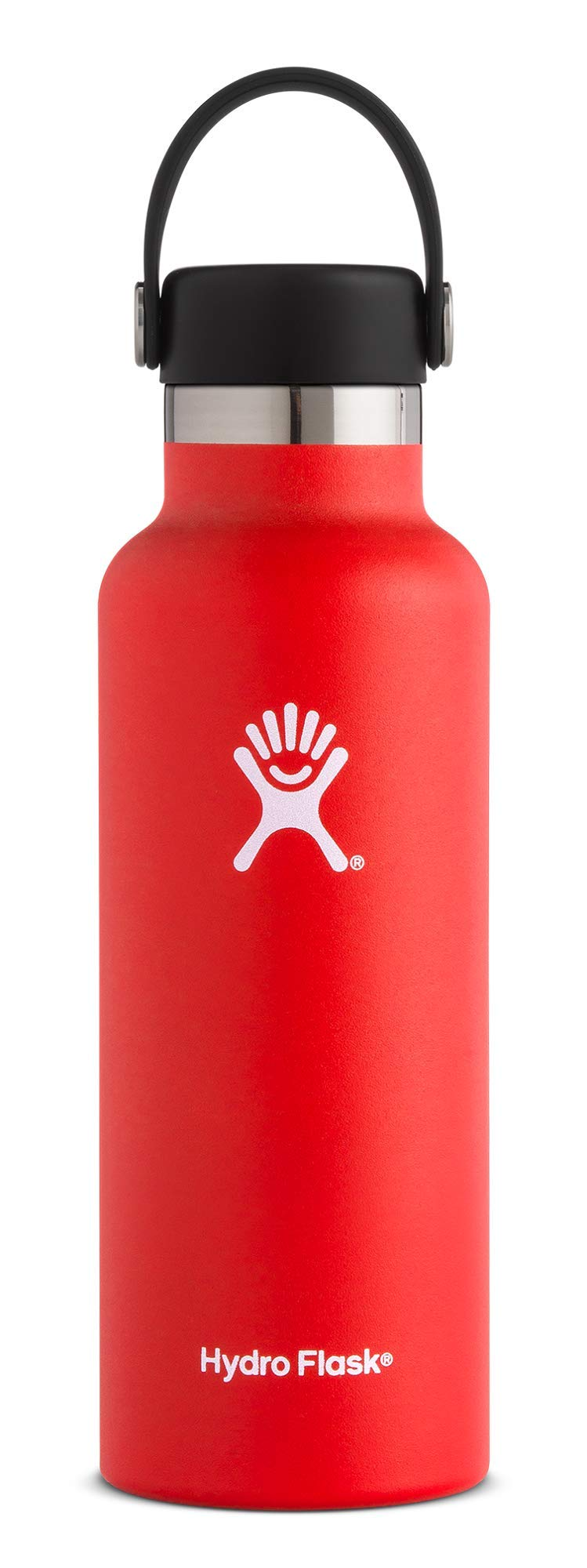 Hydro Flask 18 oz Double Wall Vacuum Insulated Stainless Steel Leak Proof Sports Water Bottle, Standard Mouth with BPA Free Flex Cap, Lava