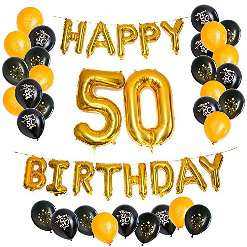 Happy 50th Birthday Balloon - PartyGraphix Ultimate Happy 50th Birthday Balloons for Fiftieth Party with Foil Letters and Ribbon - Stylish and Elegant Decor (45-Piece, Gold and Black Color)