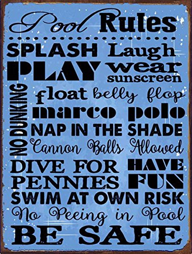 Sun Protected Pool Rules Blue Metal Sign, Motivational Rules, Swimming Pool  Sign, Positive Thinking
