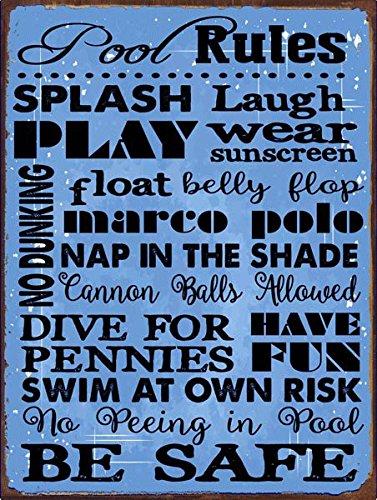 Sol Protección piscina reglas azul Metal Sign, normas de ...