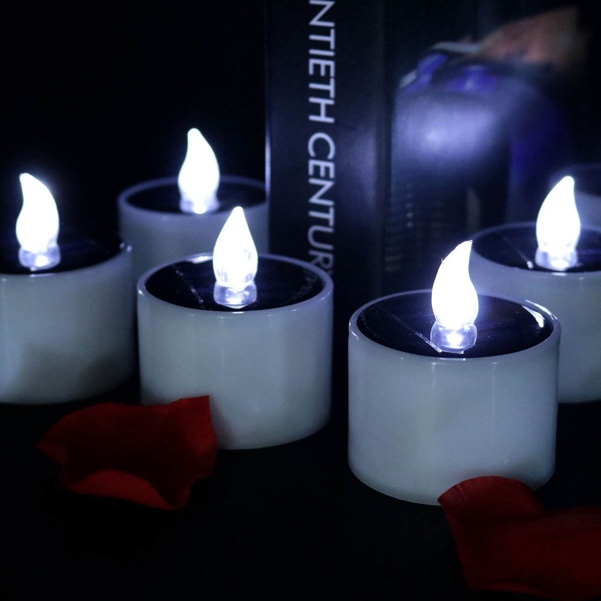 CTKcom 4 Pcs LED Solar Lights Solar Power LED light Candle Electric Lights Cool White Flickering Flameless LED Light Candle Lamp Nightlight for Home Outdoor Camping Emergency Party Birthday Wedding