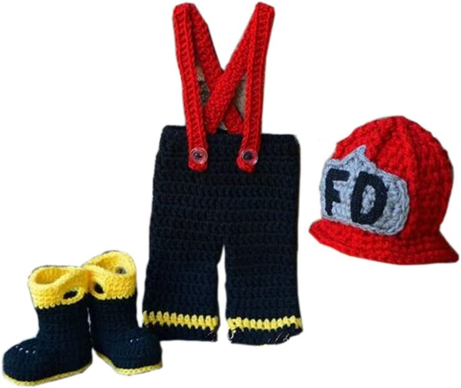 Pinbo Newborn Boys Photography Prop Crochet Firefighter Fireman Hat Pants Shoes