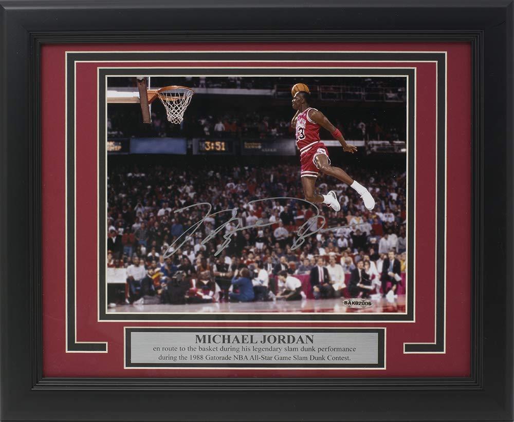 5b26815c052 Michael Jordan Signed Framed Bulls 8x10 1988 Slam Dunk Contest Photo Upper  Deck at Amazon's Sports Collectibles Store