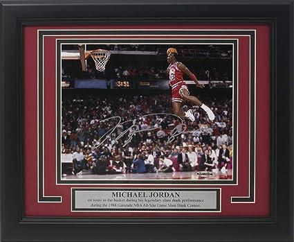 d0e67080c0f8 Michael Jordan Signed Framed Bulls 8x10 1988 Slam Dunk Contest Photo ...