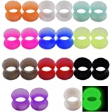 Longbeauty 11 PAIRS EAR GAUGES PLUGS FLESH TUNNELS UNISEX HOLLOW DOUBLE FLARED EXPANDER PIERCING