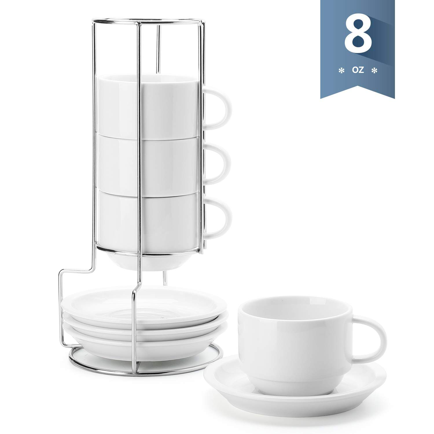Sweese 406.101 Porcelain Stackable Cappuccino Cups with Saucers and Metal Stand - 8 Ounce for Specialty Coffee Drinks, Cappuccino, Latte, Americano and Tea - Set of 4, White