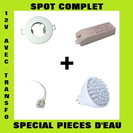 Kit Complet Spot Encastrable Blanc Ip65 Halogene 12v Et Ampoule 60