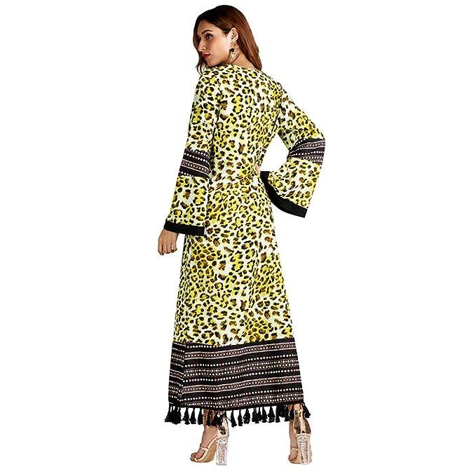Yvelands Moda Musulmana Estampado Leopardo de Manga Larga Fiesta Maxi Vestido Largo Top Blusa: Amazon.es: Ropa y accesorios