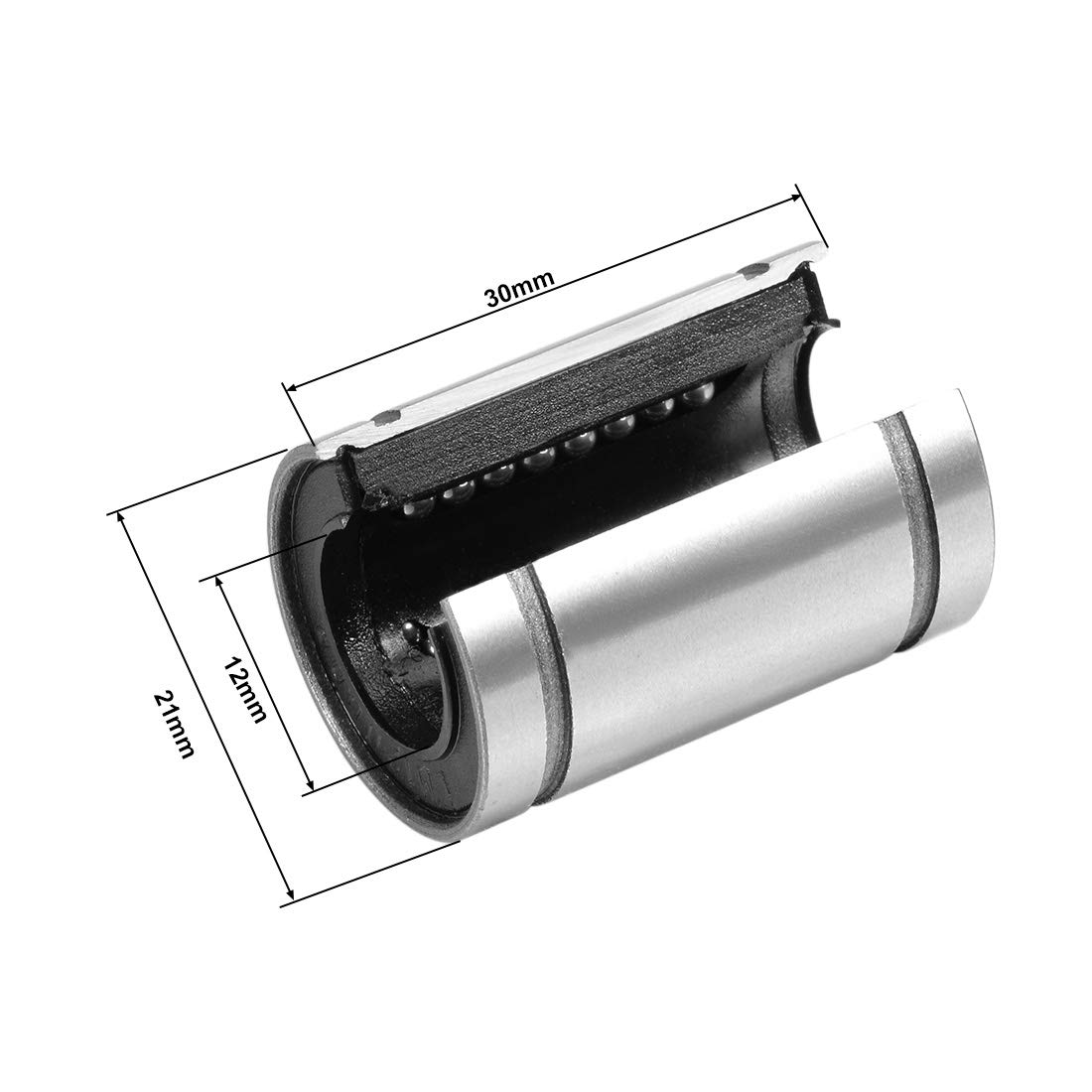 Pack of 4 uxcell LM12UUOP Linear Ball Bearings Open Type 21mm OD 12mm Bore Dia 30mm Length