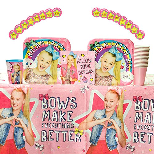 Cedar Crate Market Bundle: JoJo Siwa Party Supplies Pack for 16 Guests: Stickers, Dinner Plates, Luncheon Napkins, Table Cover, and Cups