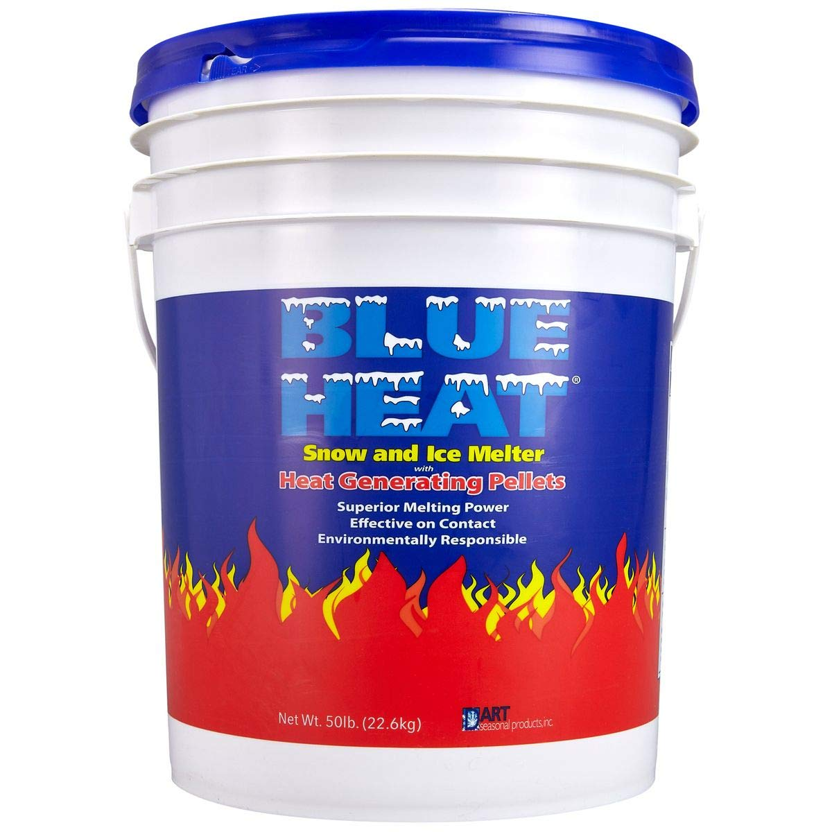 Blue Heat Snow and Ice Melter Rock Salt - 50lbs Bucket - Heat Generating Pellets - Concrete and Surface Safe - Industrial Grade - Home and Commercial Use - Blue Tint - Works in -25° F by Blue Heat Snow and Ice Melter