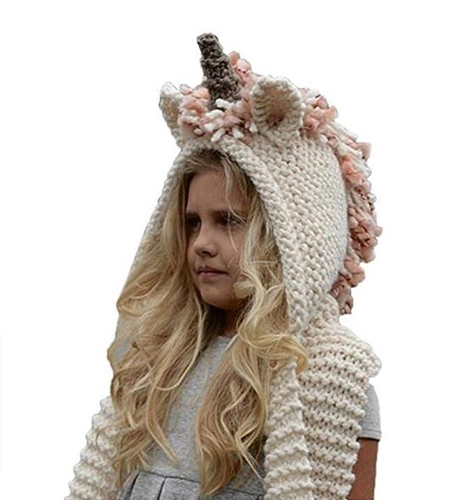 Amazon.com: Unicorn Sombrero Para Las Niñas, cálido invierno ...