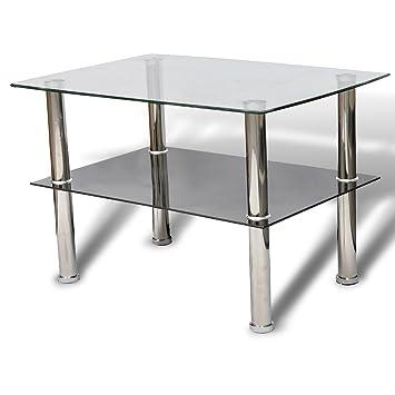 VidaXL Glastisch Couchtisch Glas 2 Ebenen Tisch Beistelltisch Wohnzimmertisch NEU