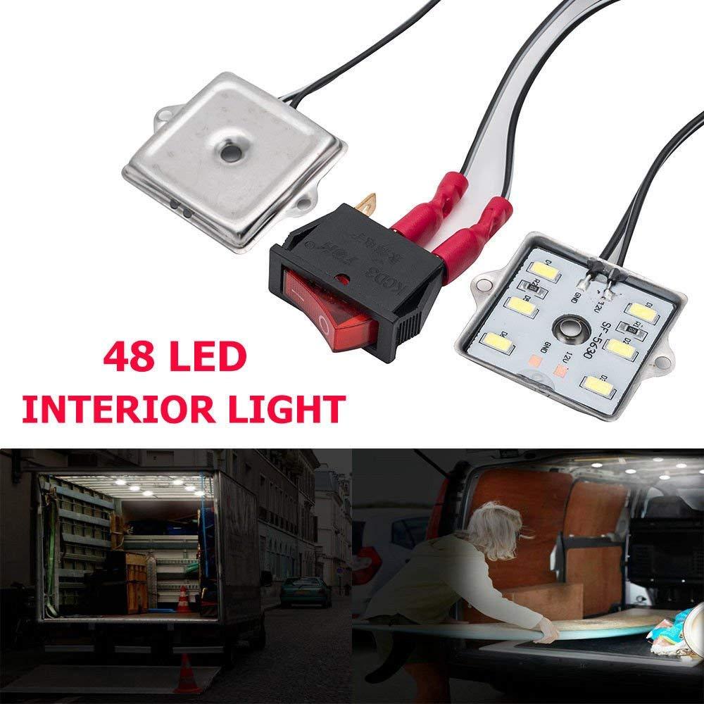 Juego de 48 luces LED para interior de coche luz blanca brillante Sunwan 12 V 12 V