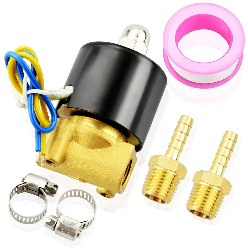 Tailonz Pneumatic 1//4 Inch NPT Brass Electric Solenoid Valve 2W025-08 DC24V Normally Closed Water Diesel Air