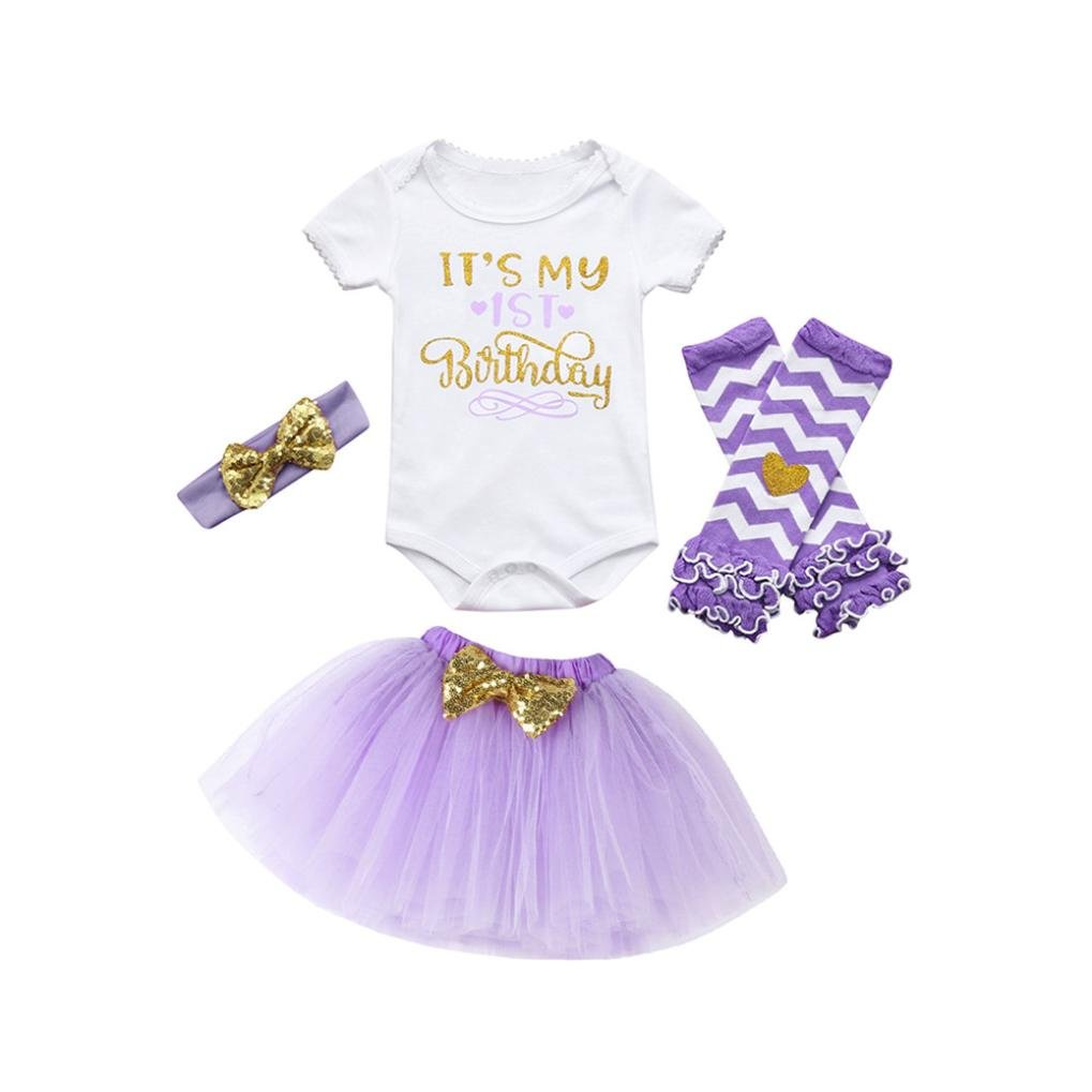 KaloryWee 4Pcs Baby Girl Birthday Party Outfits Clothes Romper+Skirt+Headband+Leggings Set